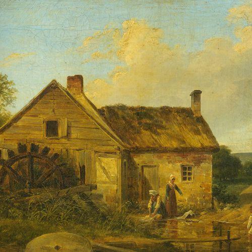 Nicolas Alexandre BARBIER   (Paris 1789 – Sceaux 1864)  Bergères près d'un mouli…