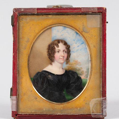 Johann Georg Paul FISCHER (1786 1875)  Portrait de jeune femme coiffée de boucle…