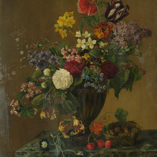 Ecole LYONNAISE vers 1840  Bouquet de fleurs  Panneau.  62,5 x 49 cm