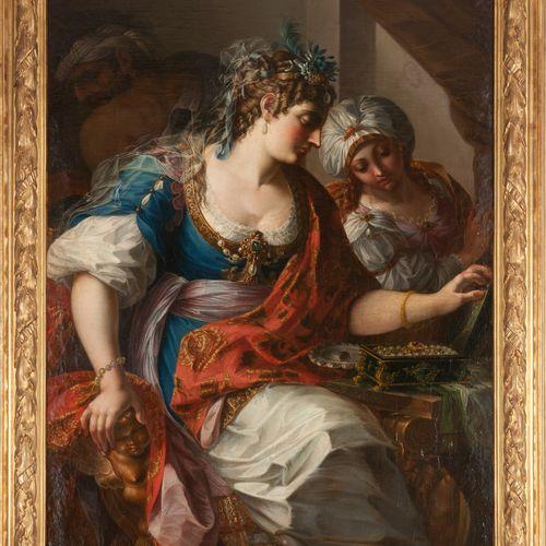 Attribué à Antoine RIVALZ (1667 – 1735)  La toilette d'Esther  Toile.  120 x 60 …