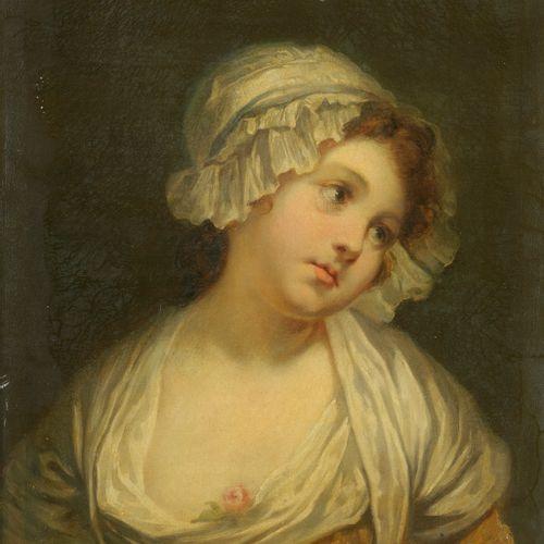 Ecole FRANCAISE du XIXe siècle,  suiveur de Greuze  Portrait de jeune fille à la…