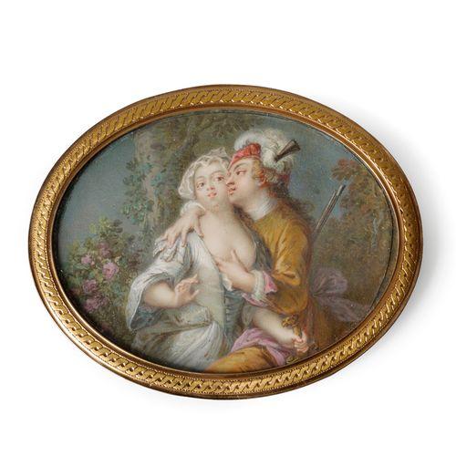 Jean BAPTISTE PATER (1695 1736)  Le hardi chasseur  Une jeune villageoise vêtue …
