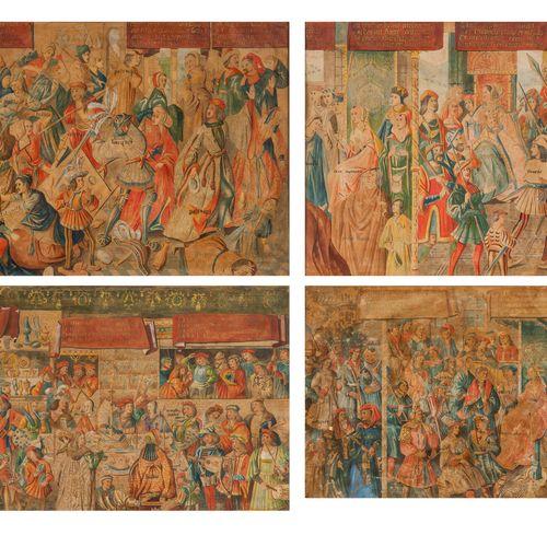 Ecole du XIXe siècle, dans le goût du XVe siècle  Scènes du Moyen Age  Quatre aq…