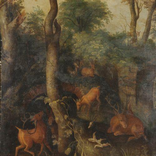 Ecole FLAMANDE du XVIIème siècle,  suiveur de Roelandt SAVERY  Cerfs en forêt  T…