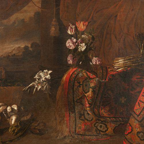 Attribué à Giuseppe RECCO (Naples 1634 Alicante 1695)  Nature morte au tapis, bo…