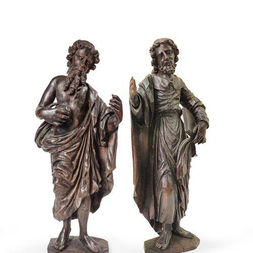 Saints Jérôme et Augustin  Paire de statuettes en bois de chêne, présentant deux…