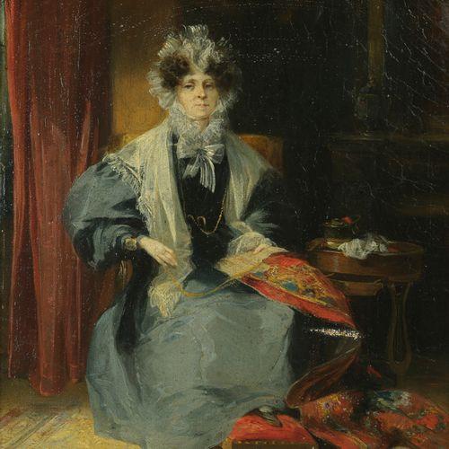 Camille ROQUEPLAN  (Mallemort 1803 – Paris 1855)  Portrait de femme assise à son…