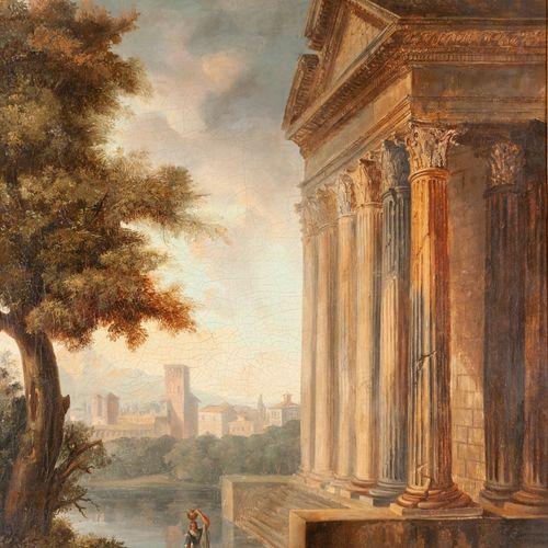 Ecole FRANCAISE  suiveur de Hubert ROBERT  Temple au bord de l'eau  Toile.  81 x…