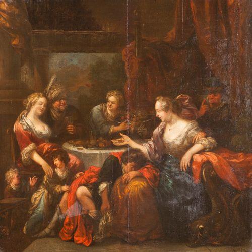 Ecole FLAMANDE  du XVIIIe siècle  Scène de banquet familial  Panneau de chêne,  …