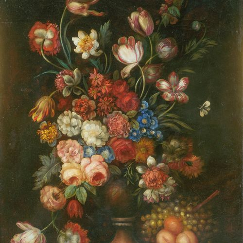 Dans le goût du XVIIIe siècle  Vase fleuri.  Huile sur toile  102 x 73 cm