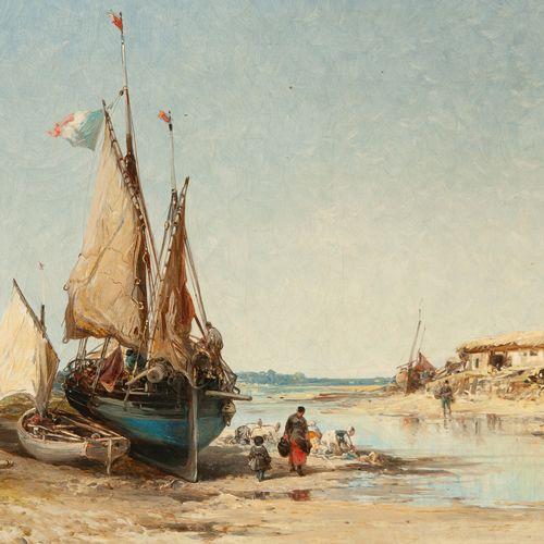 Jules Achille NOËL (1810 1881)  Lavandières et bateaux de pêche à marée basse, 1…