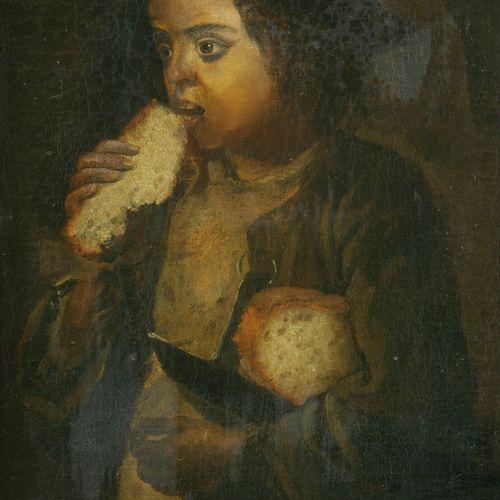 Ecole Italienne vers 1800.  Garçon mangeant du pain  Toile  56 x 39 cm