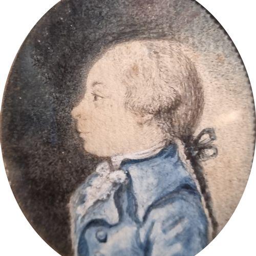 CARMONTELLE entourage de  Deux profils d'enfant  Paire de miniatures à l'aquarel…