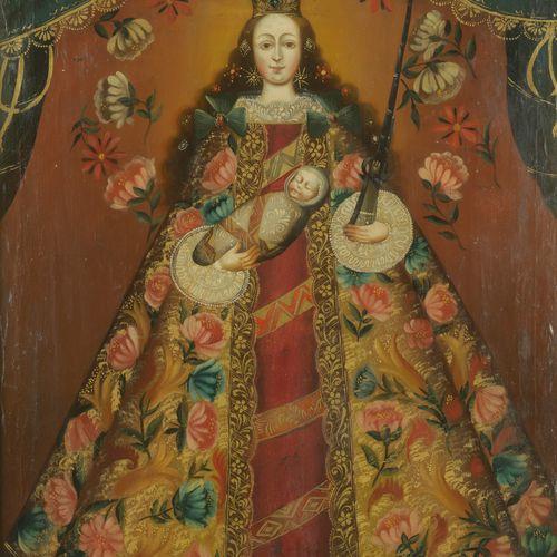 Ecole de Cuzco du XIXe siècle  Vierge  Huile sur toile.  79 x 62 cm