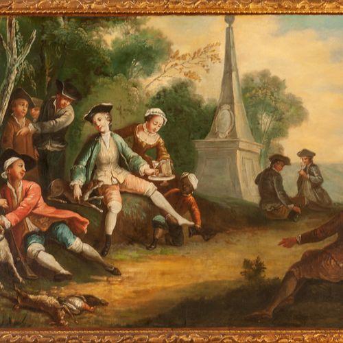 Ecole ESPAGNOLE  vers 1780  Déjeuner à l'Obélisque  Toile.  55 x 75,5 cm