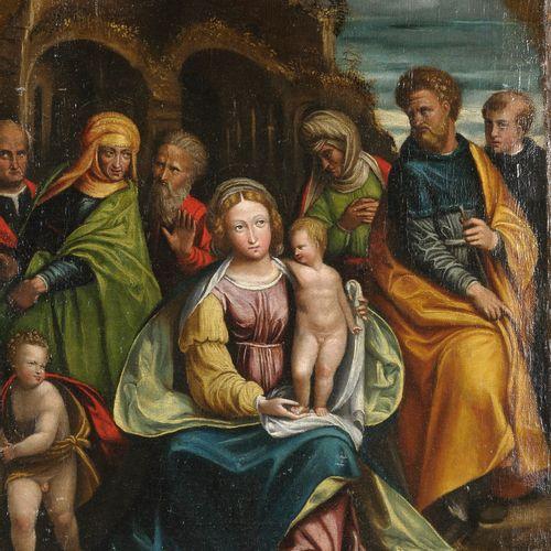 Ecole de FERRARE vers 1490  La Vierge et l'Enfant entourés de saints  Toile  60 …