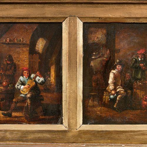 Ecole ITALIENNE vers 1900,  dans le goût de TENIERS  Scènes d'intérieur de taver…
