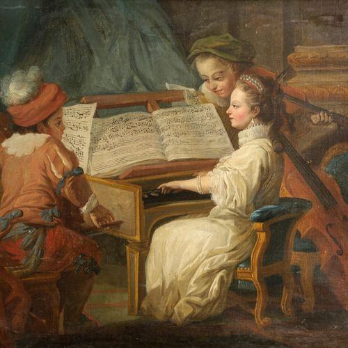 D'après Carl Van Loo, XVIIIe siècle  Allégorie de la musique  Huile sur toile  8…