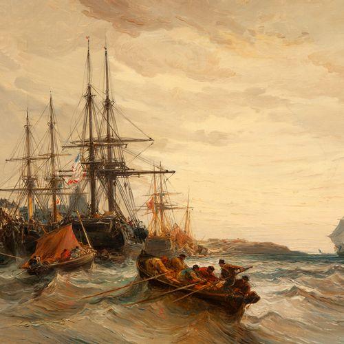 Jules Achille NOËL (1810 1881)  Bateaux amarés, mer agitée  Huile sur toile.  Si…