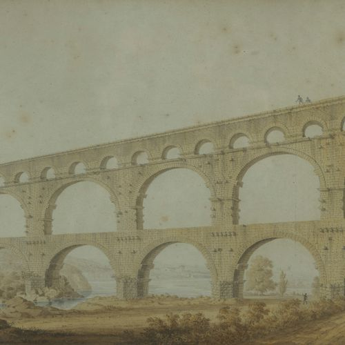 Ecole vers 1820  Le Pont du Gard  Panorama de Nimes  Paire d'aquarelles
