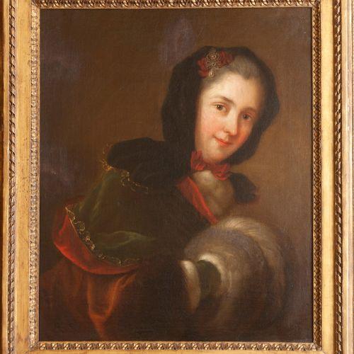 Ecole du XVIIIe siècle, suiveur de NATTIER  Femme à la fourrure  Toile.  65 x 52…