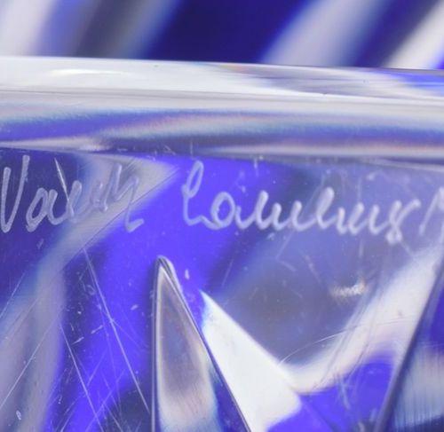 A large blue overlay cut crystal Val Saint Lambert Jupiter vase, the frieze deco…