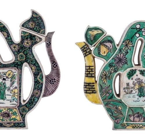 Two Chinese famille verte biscuit 'Puzzle' teapots and cover, both modelled in t…