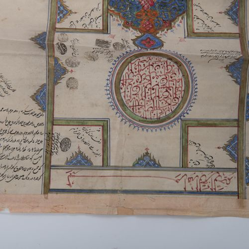 A Qajar illuminated royal document on paper concerning a marriage contract, date…