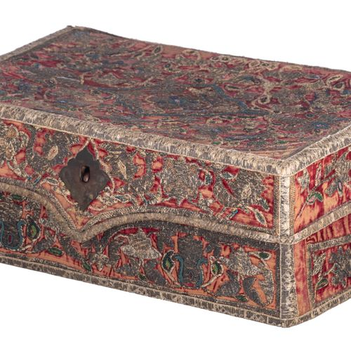 A Safavid Persian embroidery Quran casket decorated with metal thread and colour…