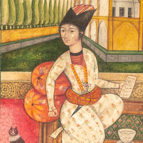 A Persian 19thC gouache painting on paper depicting an elegantly dressed Qajar y…