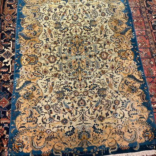 Kachan carpet with decoration of birds in foliage.  203 x 142