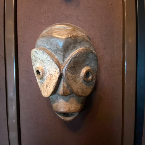 Bicolor mask made of carved wood  Modern