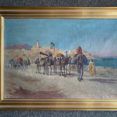 Alexis Auguste DELAHOGUE (1867 1953)  Caravane en bord de mer  Indication au dos…