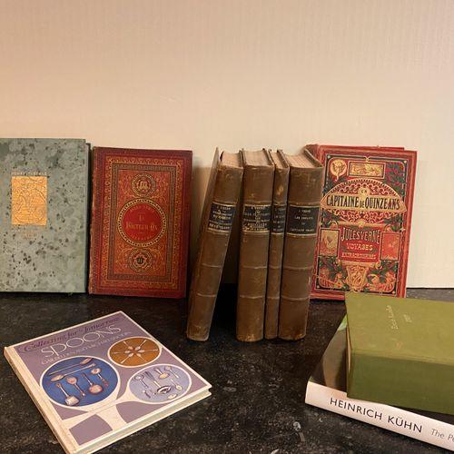 Lot de livres dont Jules Vernes.  Etats divers, usures, déchirures.