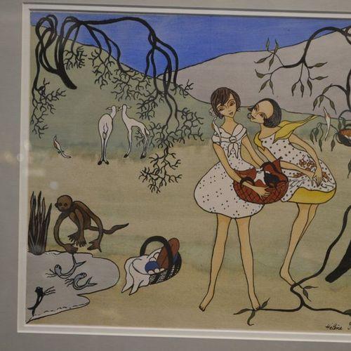 Hélène PERDRIAT (1894 1969) La cueillette. Gouache sur papier signée en bas à dr…