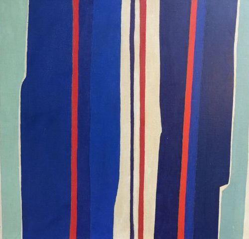 R. CONTE (XXème) Composition multicolore. Signée et datée en bas à gauche, 1957.…