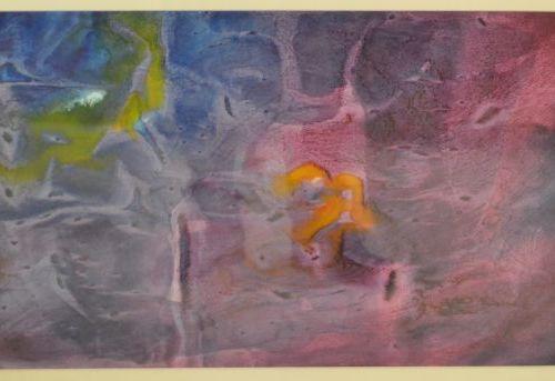 Composition violette et bleue. Estampe en couleur. A vue : 30 x 50 cm.