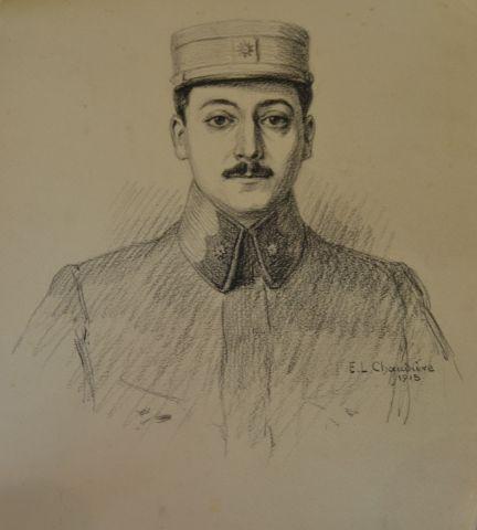 Trois dessins de lieutenant de la 1ère Guerre Mondiale. On y joint une illustrat…