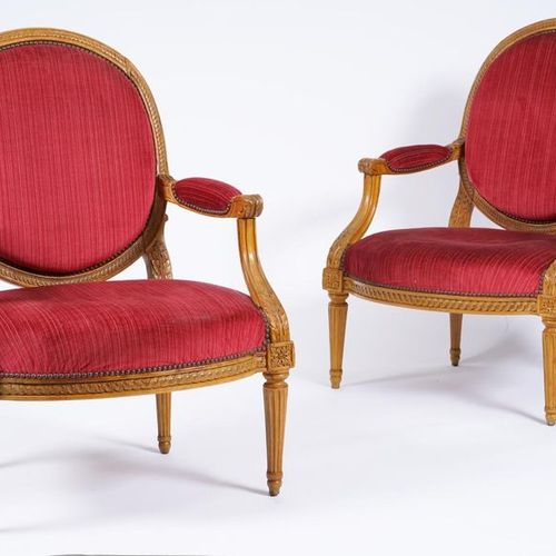 Two large armchairs with flat backs in medallion, carved beech wood and interlac…