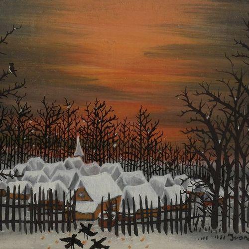 Ivan LACKOVITCH (1932 2004) Zima, paysage enneigé Gouache signée en bas à droite…
