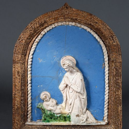 Atelier de Benedetto BUGLIONI Curved rectangular enamelled terracotta plaque wit…