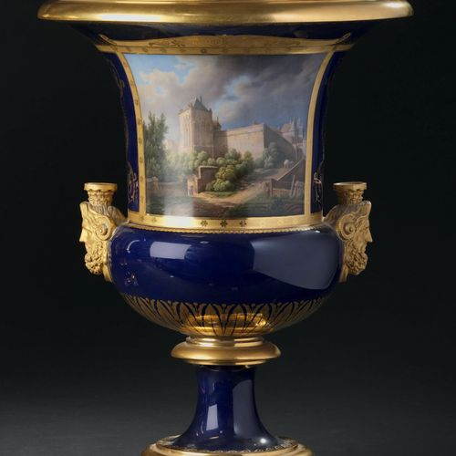 SÈVRES Pair of Medici porcelain vases of the third size, with side grips in the …