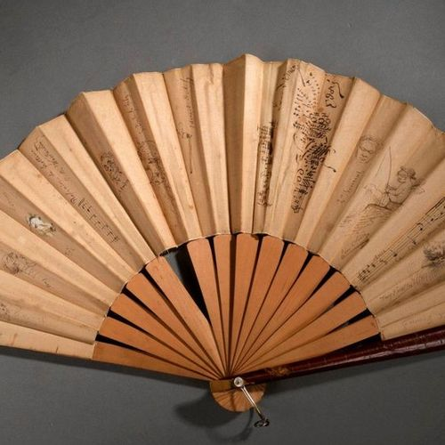 VENT.  Antique fan (circa 1900). Unfolded dimension 50 cm. Total height 28 cm.  …