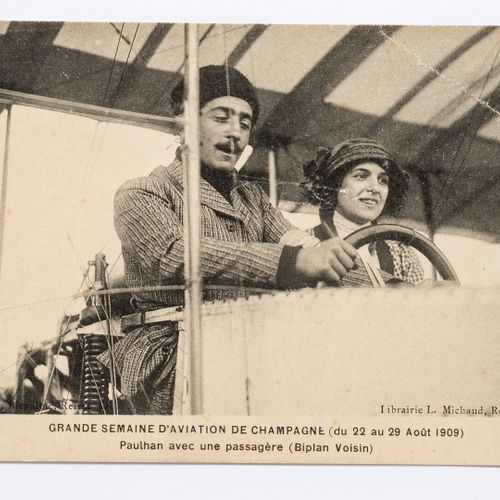 Lucien LOTH (1885 1978)  Roger Sommer on a Farman biplane  Paulhan with a passen…