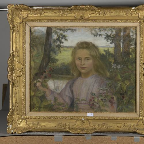 Lucien LÉVY DHURMER (1865 1935)  Young Girl in a Garden  Pastel on paper mounted…