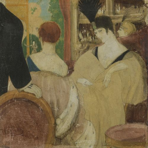 Paul IRIBE (1883 1935)  Elegant Girls at the Theatre  Graphite and watercolor on…