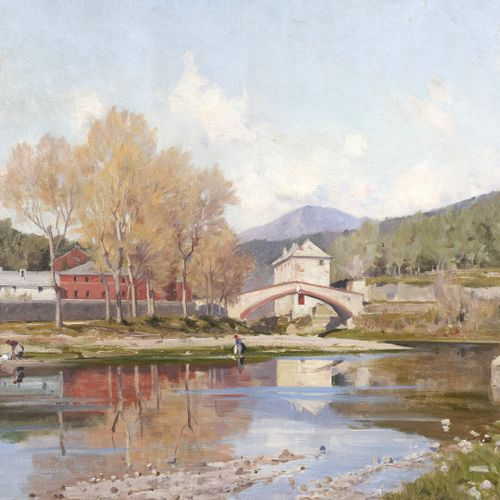 Jacques Louis ODIER (1853 1930)  Ponte Balbi, Riva Trigoso, in the vicinity of  …