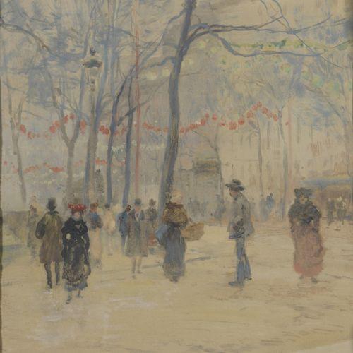Louis Eugène GILLOT (1868 1925)  The Luxembourg Garden  Gouache and watercolor o…