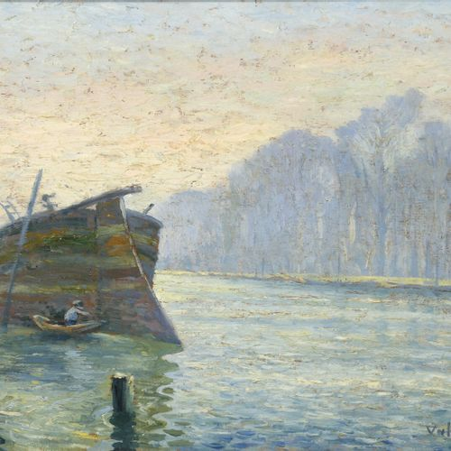Valery MÜLLER (1859 1916)  Boatman examining the stern of a barge  Oil on canvas…