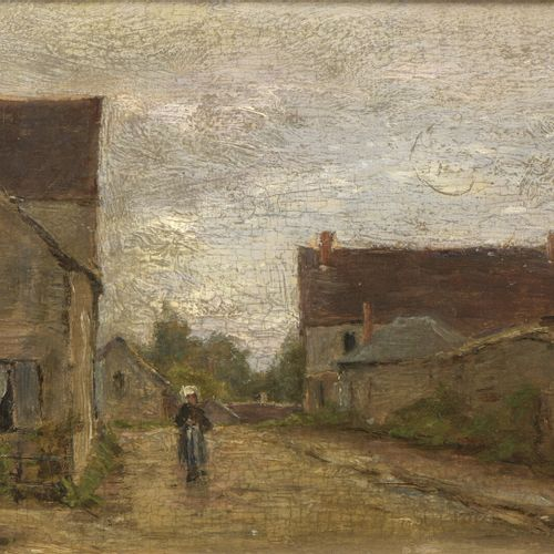 Frédéric HENRIET  (Château Thierry 1826 1918)  The street at Breny (Aisne)  Parq…